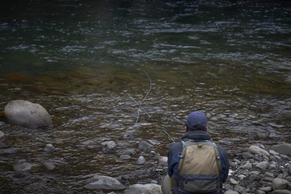 retreving salmon flies
