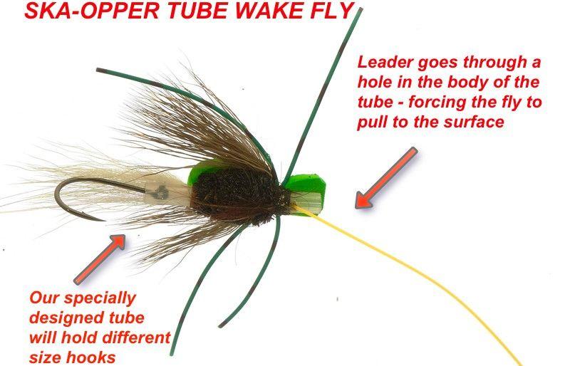 Wake fly on riffling hitch tube